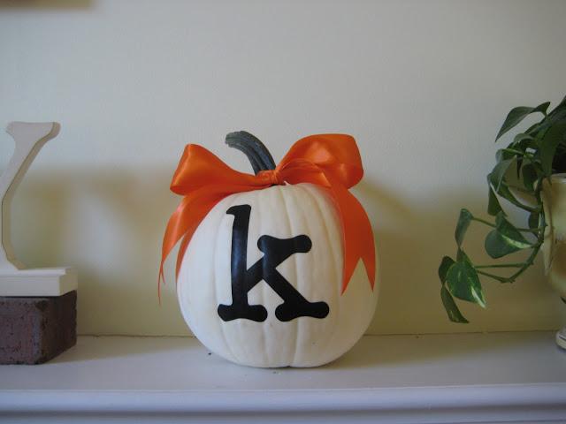 Monogrammed White Pumpkin