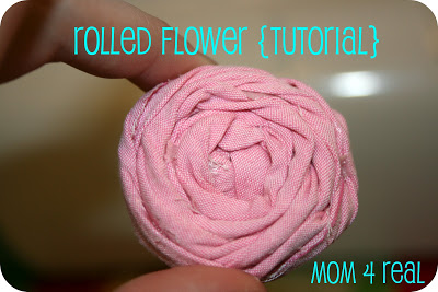How to make a rolled flower rosette with fabric from www.mom4real.com