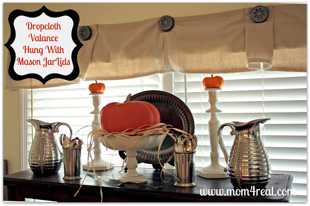 Dropcloth Valance Hung With Mason Jar Lids