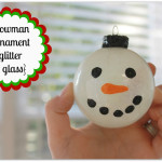 Glitter Snowmant Glass Ornament