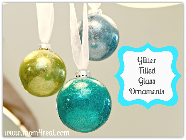 Glitter Filled Glass Ornaments {Tutorial}