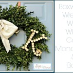 Boxwood Wreath with Wine Cork Monogram and Bow