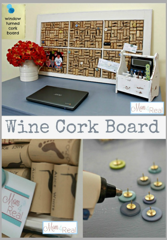 Old Window Turned Wine Cork Board at www.mom4real.com
