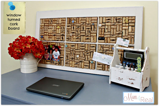 Old Window Turned Wine Cork Board