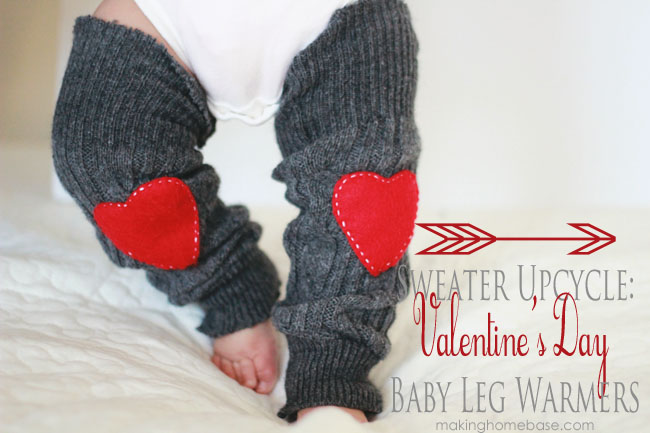 Baby Leg Warmers Sweater Upcycle for Valentine's Day