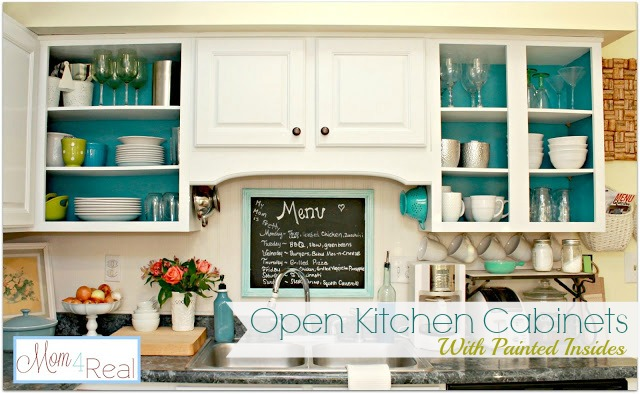 Open cabinets with white aqua lime green silver for Open style kitchen cabinets