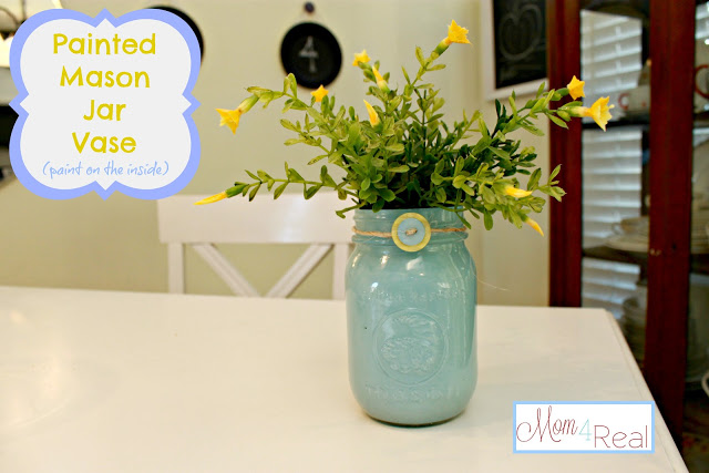 Painted Mason Jar Vase Paint On The