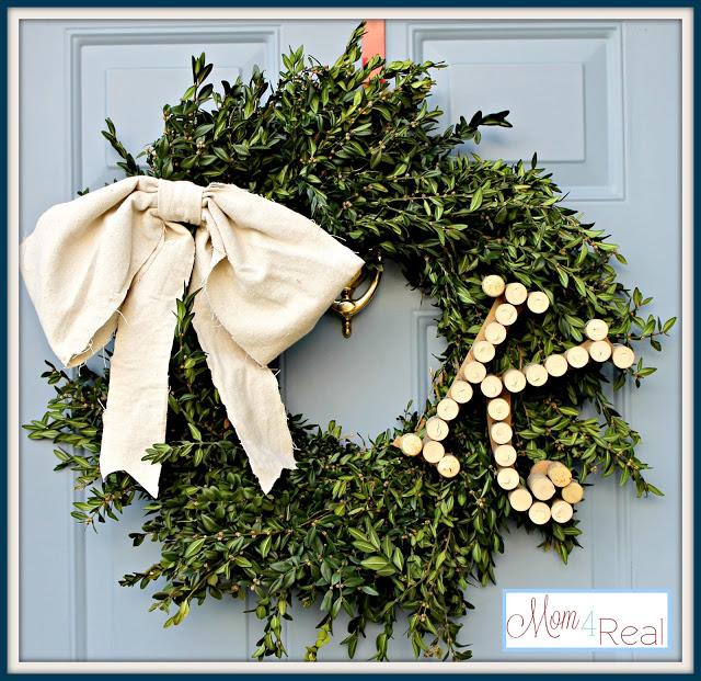 Christmaswreathwinecorkmonogramdropclothbowboxwood