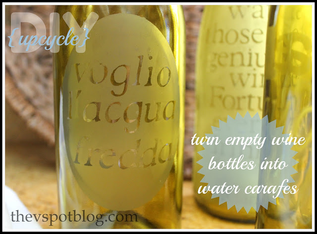 DIY turn wine bottles into water carafes