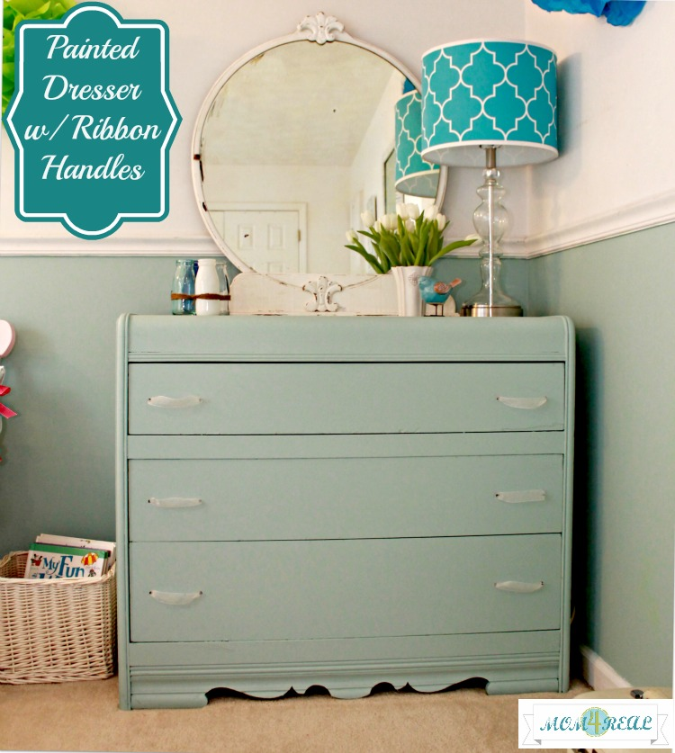 Aqua Painted Dresser With Ribbon Handles  www.mom4real.com
