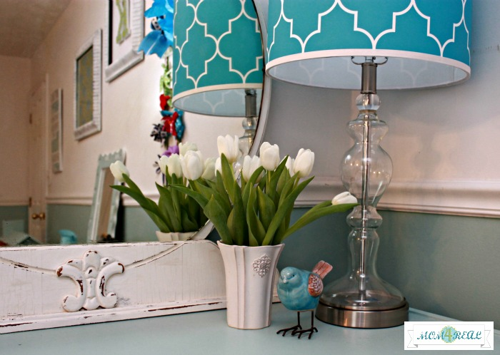 Aqua Decor in Cottage Style Bedroom www.mom4real.com