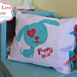 Puppy Love Pillow (Freezer Paper Stencil & Open Ended Pillow Tutorials)