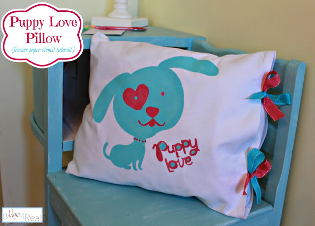 Puppy Love ~ Freezer Paper Stenciled Pillow Tied With Ribbons at www.mom4real.com