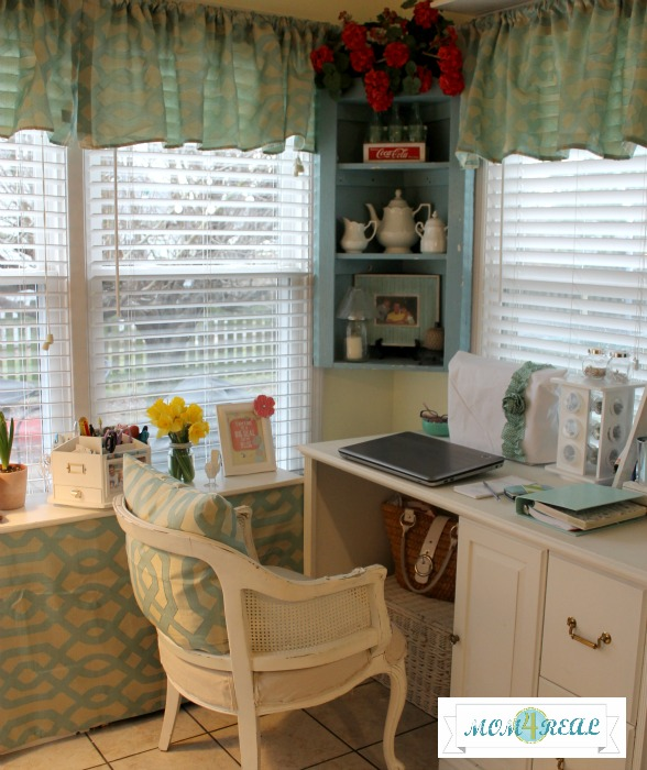 Office / Craft Space With Aqua Accents at www.mom4real.com