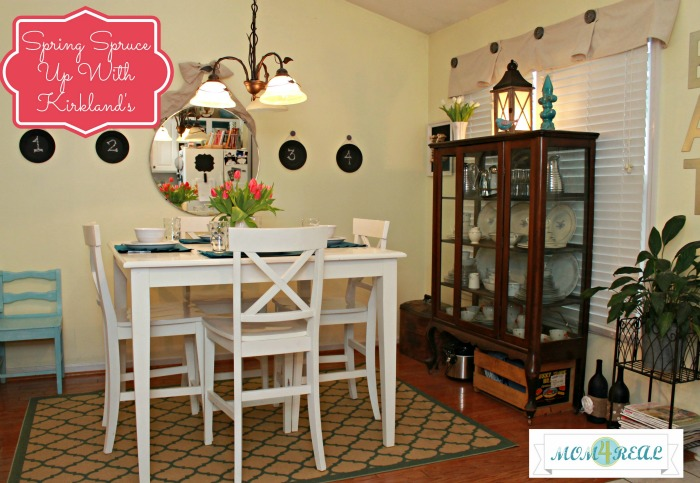Dining Room with Aqua Accents at www.mom4real.com