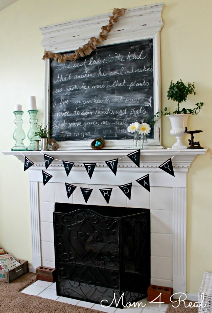Make a Reusable Chalkboard Painted Banner at www.mom4real.com