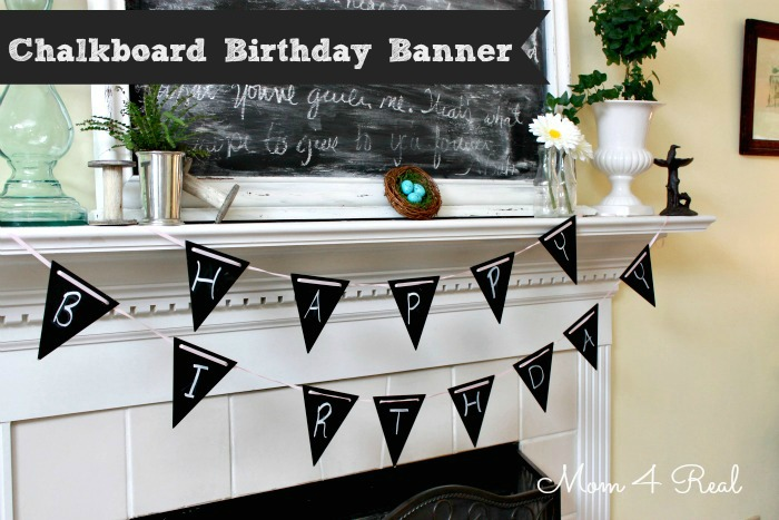 Reusable Chalkboard Painted Banner at www.mom4real.com