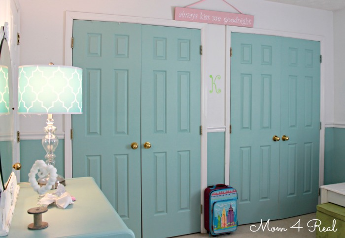 Cottage Bedroom Reveal ~ Painted Closet Doors at www.mom4real.com