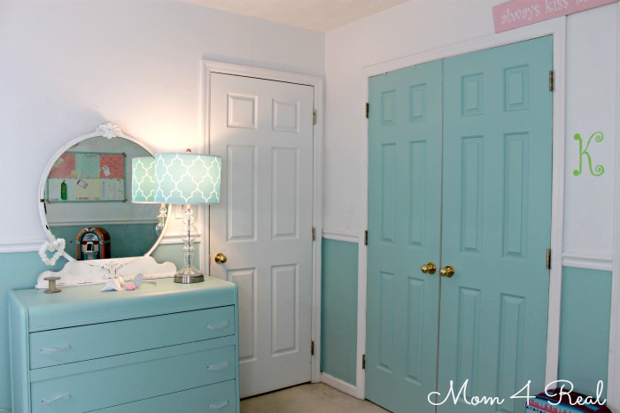 Closet Color Turquoise Cottage Bedroom Reveal with Painted Closet Doors at www.mom4real.com