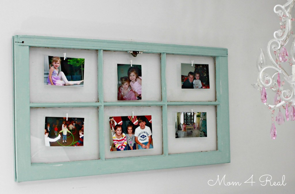Old Window Turned Photo Display at www.mom4real.com