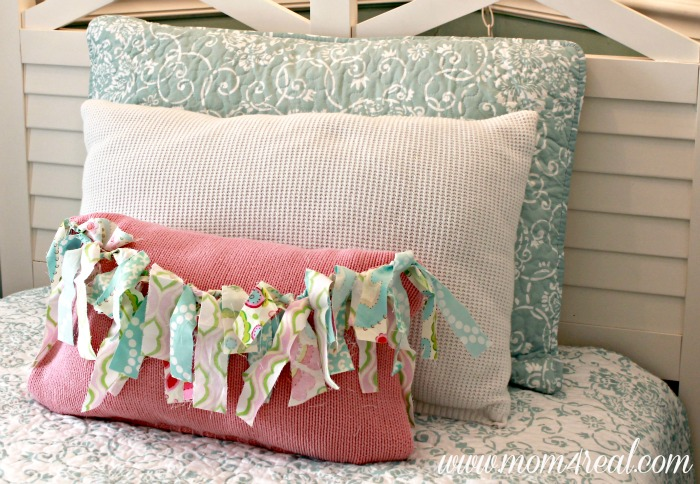 DIY Sweater Throw Pillows With Rag Garland Embellishment