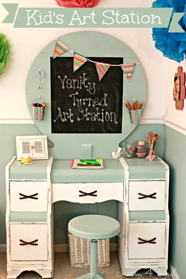Old Vanity Turned Kid's Art Station at www.mom4real.com