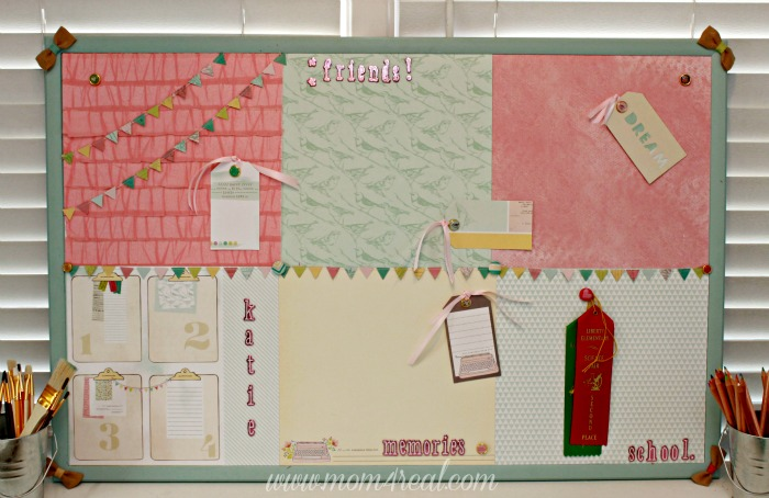pretty-decorated-bulletin-cork-board-using-scrapbook-supplies