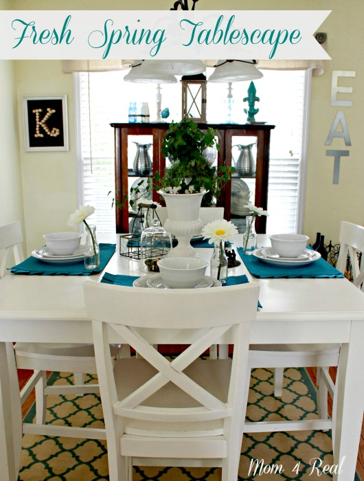 Fresh Spring Tablescape by www.mom4real.com