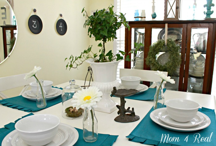 Spring Tablescape With Aqua Accents at www.mom4real.com