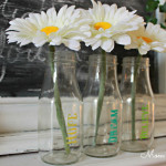 Stenciled Glass Bottle Vases