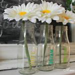 Stenciled Glass Bottle Vases