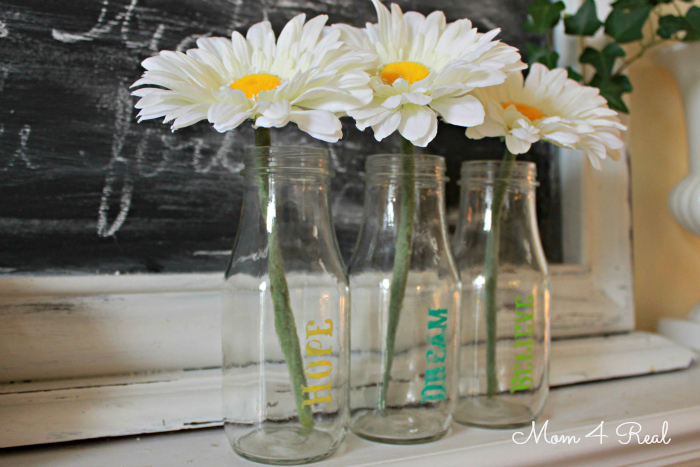 Stenciled Glass Bottle Vases at www.mom4real.com