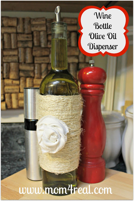 Decant your olive oil in an old wine bottle...www.mom4real.com