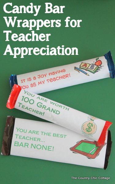 Candy Bar Wrappers for Teacher Appreciation
