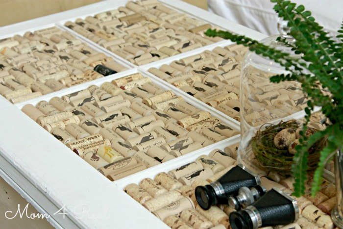 Wine Corks and An Old Window as a table top!  www.mom4real.com