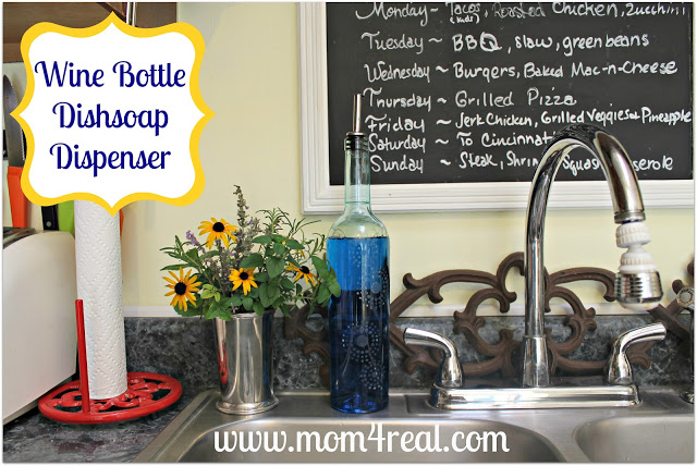 Wine Bottle Turned Dish Soap Decanter at www.mom4real.com