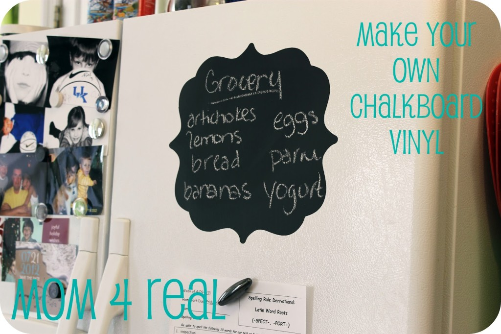 Make your own chalkboard vinyl at www.mom4real.com