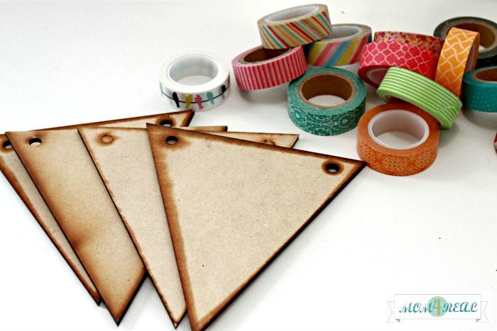 Make a washi tape banner at www.mom4real.com