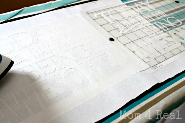 Awesome pillow with freezer paper stencil