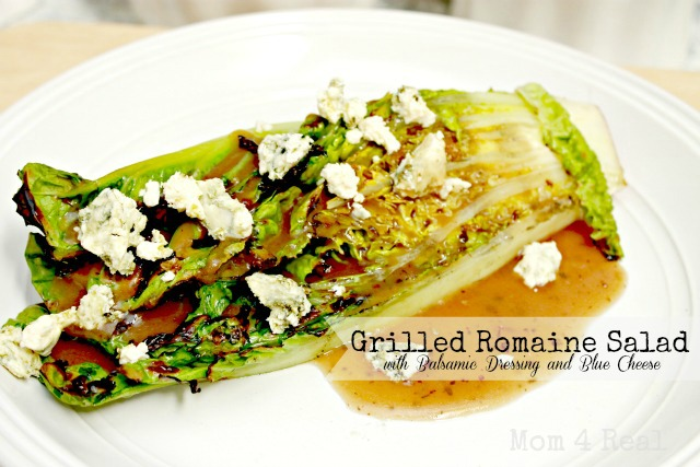 Grilled Romaine Salad With Balsamic Dressing and Blue Cheese Crumbles