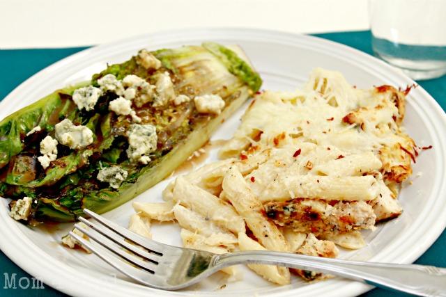 Grilled Romaine Salad and Cajun Chicken Pasta