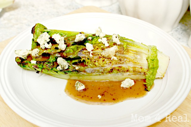 Grilled Romaine with Balsamic Dressing and Blue Cheese Crumbles