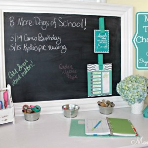 Mirror Turned Chalkboard with Clips for Organizing Papers