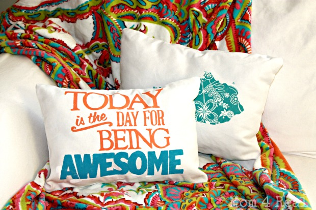 Today Is The Day For Being Awesome – Freezer Paper Stencil Pillow