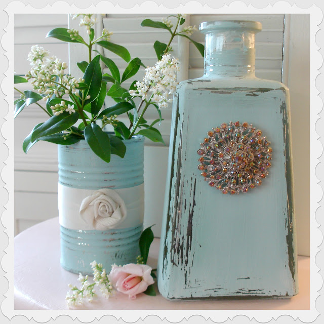Aqua Bottle Jar Chalk Paint Home Decor Diy