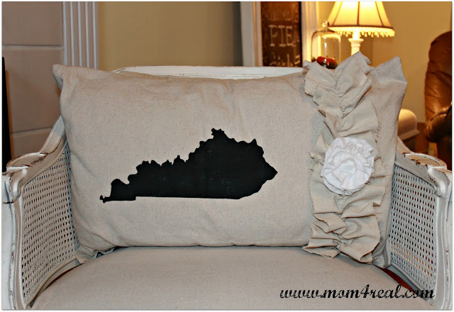 State Silhouette Ruffled Dropcloth Pillow at www.mom4real.com