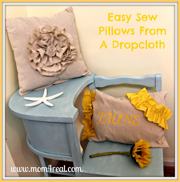 Easy Sew Pillows From a Dropcloth at www.mom4real.com