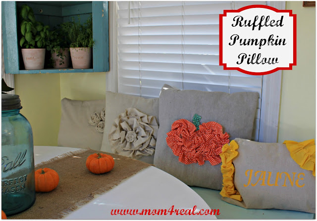 Ruffled Pumpkin Pillow at www.mom4real.com