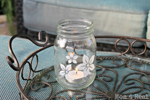 Stenciled Mason Jar Votive at www.mom4real.com