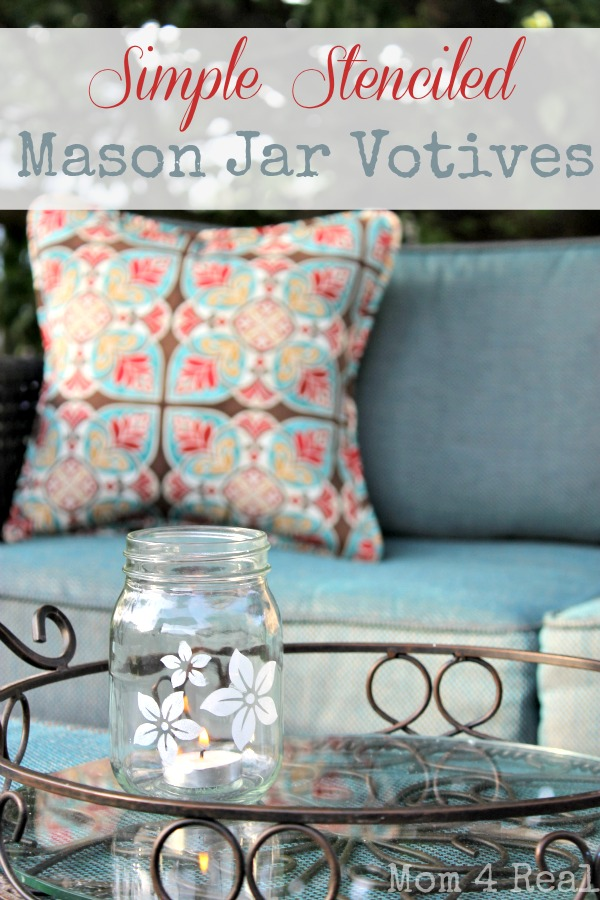 Stenciled Mason Jar Votives at www.mom4real.com